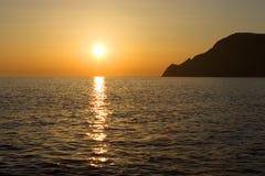 Ηλιοβασίλεμα σε Vernazza, Cinque Terre Στοκ Εικόνα