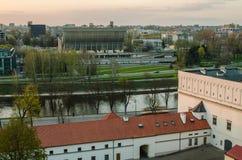 Ηλιοβασίλεμα σε Vilnius, Λιθουανία. Στοκ Φωτογραφία