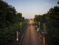 Ηλιοβασίλεμα σιδηροδρόμου Στοκ Εικόνες