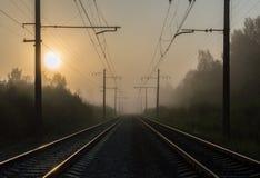 ηλιοβασίλεμα σιδηροδρόμων Στοκ Εικόνες