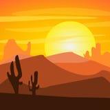 Ηλιοβασίλεμα στην έρημο Στοκ εικόνα με δικαίωμα ελεύθερης χρήσης