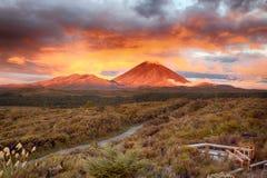 Ηλιοβασίλεμα στην ΑΜ Ngauruho, Νέα Ζηλανδία Στοκ Φωτογραφίες