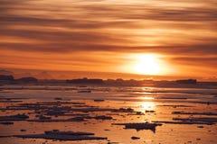 Ηλιοβασίλεμα στην Ανταρκτική Στοκ Φωτογραφία