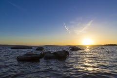 Ηλιοβασίλεμα στην ανώτερη λίμνη Iset Στοκ Εικόνα