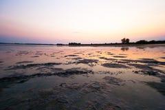 Ηλιοβασίλεμα στην αλατισμένη λίμνη Στοκ εικόνα με δικαίωμα ελεύθερης χρήσης