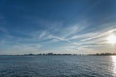Ηλιοβασίλεμα στην παραλία Clearwater, Φλώριδα Ευρεία γωνία Στοκ Εικόνες