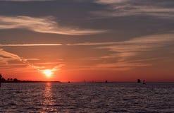 Ηλιοβασίλεμα στην παραλία Clearwater, Φλώριδα Τοπίο κόλπος Μεξικό Στοκ φωτογραφίες με δικαίωμα ελεύθερης χρήσης