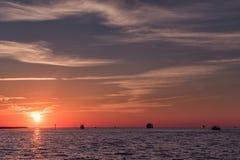 Ηλιοβασίλεμα στην παραλία Clearwater, Φλώριδα Τοπίο κόλπος Μεξικό Στοκ εικόνες με δικαίωμα ελεύθερης χρήσης