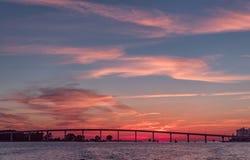 Ηλιοβασίλεμα στην παραλία Clearwater, Φλώριδα Τοπίο κόλπος Μεξικό Στοκ Φωτογραφίες