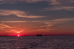 Ηλιοβασίλεμα στην παραλία Clearwater, Φλώριδα Τοπίο κόλπος Μεξικό Στοκ εικόνα με δικαίωμα ελεύθερης χρήσης