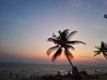 Ηλιοβασίλεμα στην παραλία pattaya στοκ εικόνες