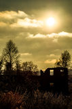 Ηλιοβασίλεμα στην περιοχή Kaluga (Ρωσία) Στοκ εικόνα με δικαίωμα ελεύθερης χρήσης