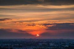 Ηλιοβασίλεμα στην πόλη της Μπανγκόκ, Ταϊλάνδη Στοκ Φωτογραφία