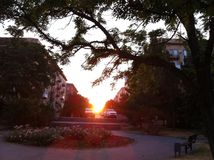 Ηλιοβασίλεμα στην πόλη Στοκ εικόνα με δικαίωμα ελεύθερης χρήσης