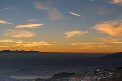 Ηλιοβασίλεμα στην πλευρά χώρας από την Ισπανία Στοκ φωτογραφία με δικαίωμα ελεύθερης χρήσης