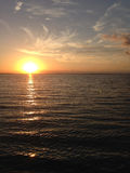 Ηλιοβασίλεμα στη λίμνη Erie Στοκ Εικόνες