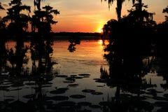 Ηλιοβασίλεμα στη λίμνη Martin στοκ εικόνα