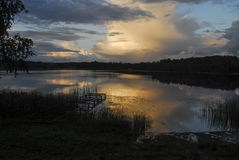 Ηλιοβασίλεμα στη λίμνη Stameriena Στοκ Εικόνες