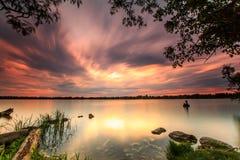 Ηλιοβασίλεμα στη λίμνη Wilcox Στοκ φωτογραφία με δικαίωμα ελεύθερης χρήσης