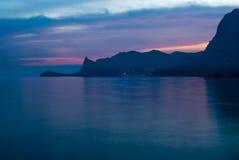 Ηλιοβασίλεμα στη θάλασσα Κριμαία Στοκ Φωτογραφία