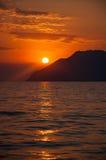 Ηλιοβασίλεμα στη θάλασσα Egean Στοκ εικόνες με δικαίωμα ελεύθερης χρήσης