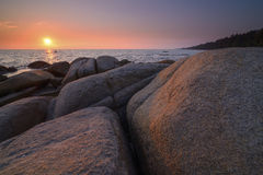 Ηλιοβασίλεμα στη θάλασσα, khao Larn hin Στοκ Εικόνα