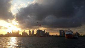 Ηλιοβασίλεμα στη Σιγκαπούρη Στοκ Φωτογραφία