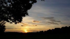 Ηλιοβασίλεμα στη χώρα Στοκ Εικόνα