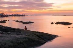 Ηλιοβασίλεμα στον ορίζοντα Στοκ Φωτογραφίες