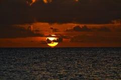 Ηλιοβασίλεμα στους κοκοφοίνικες Cayo Στοκ Εικόνες
