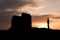 Ηλιοβασίλεμα στους τοίχους πόλεων Στοκ Εικόνες