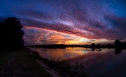 Ηλιοβασίλεμα στο δέλτα Δούναβη Στοκ εικόνα με δικαίωμα ελεύθερης χρήσης