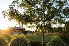 Ηλιοβασίλεμα στο αναμνηστικό πάρκο του Julius Μ Kleiner Στοκ εικόνα με δικαίωμα ελεύθερης χρήσης