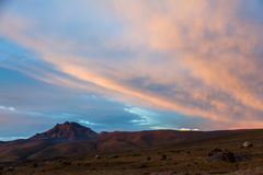Ηλιοβασίλεμα στο εθνικό πάρκο Cotopaxi Στοκ Φωτογραφίες