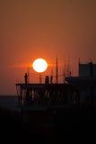 Ηλιοβασίλεμα στο εργοτάξιο οικοδομής Στοκ εικόνα με δικαίωμα ελεύθερης χρήσης