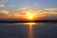 Ηλιοβασίλεμα στο λιμάνι κόλπων Morro, Καλιφόρνια Στοκ Εικόνες