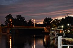 Ηλιοβασίλεμα στο κανάλι του Erie Στοκ φωτογραφία με δικαίωμα ελεύθερης χρήσης