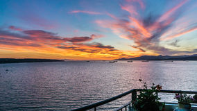 Ηλιοβασίλεμα στο μπαλκόνι στοκ εικόνα