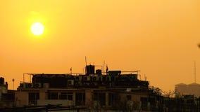 Ηλιοβασίλεμα στο Νέο Δελχί απόθεμα βίντεο