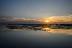 Ηλιοβασίλεμα στο νερό, Δούναβης του δέλτα Ρουμανία Στοκ Εικόνα