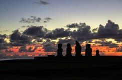 Ηλιοβασίλεμα στο νησί Πάσχας, Χιλή Στοκ φωτογραφίες με δικαίωμα ελεύθερης χρήσης