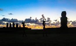 Ηλιοβασίλεμα στο νησί Πάσχας, Χιλή Στοκ Εικόνες