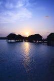 Ηλιοβασίλεμα στο νησί των Μαλδίβες Στοκ φωτογραφία με δικαίωμα ελεύθερης χρήσης