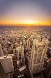 Ηλιοβασίλεμα στο Σικάγο, Ιλλινόις Στοκ εικόνα με δικαίωμα ελεύθερης χρήσης