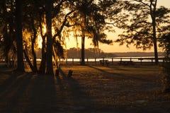 Ηλιοβασίλεμα στο στριμμένο κρατικό πάρκο ποταμών Στοκ εικόνα με δικαίωμα ελεύθερης χρήσης