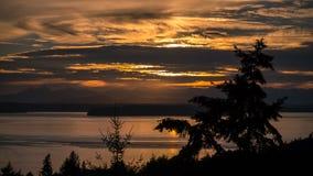 Ηλιοβασίλεμα στο δυτικό Σιάτλ Στοκ Φωτογραφίες