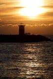 Ηλιοβασίλεμα στο φάρο Στοκ Εικόνα