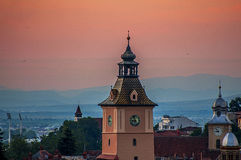 Ηλιοβασίλεμα στο brasov στοκ φωτογραφία με δικαίωμα ελεύθερης χρήσης