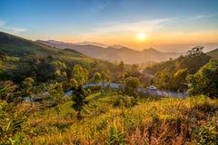 Ηλιοβασίλεμα στο doi phatung στοκ εικόνες