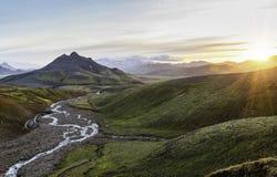 ηλιοβασίλεμα της Ισλαν& Στοκ Εικόνα